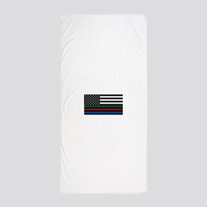 Thin Blue Line Decal - USA Flag - Red, Beach Towel