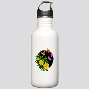 YELLOW ROSES AND BUTTERFLIES Water Bottle