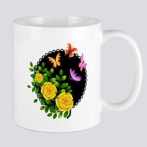 YELLOW ROSES AND BUTTERFLIES Mugs