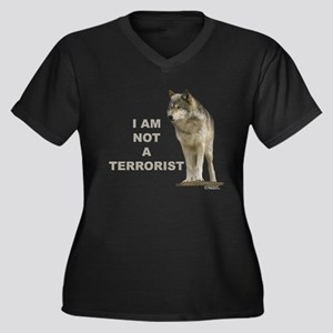 """NOT A TERRORIST"" Wolf Appare Women's Plus Size V-"