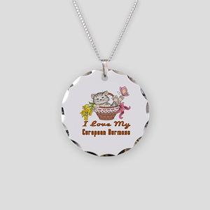 I Love My European Burmese D Necklace Circle Charm