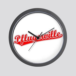 Retro Pflugerville (Red) Wall Clock
