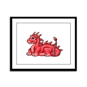 Baby Red Dragon Framed Panel Print