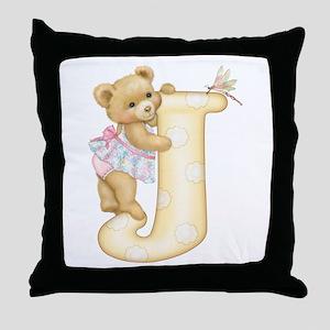 Teddy Alphabet J Yellow Throw Pillow