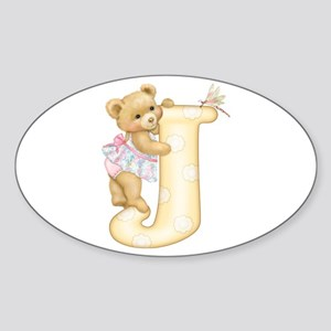 Teddy Alphabet J Yellow Oval Sticker