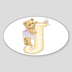Teddy Alphabet J Yellow Oval Sticker
