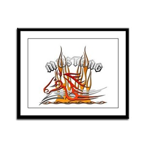 Mustang Tribal with Flames Framed Panel Print