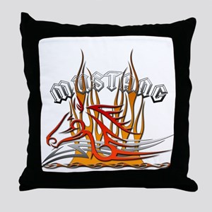 Mustang Tribal with Flames Throw Pillow