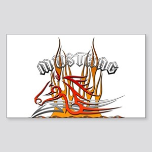 Mustang Tribal with Flames Rectangle Sticker
