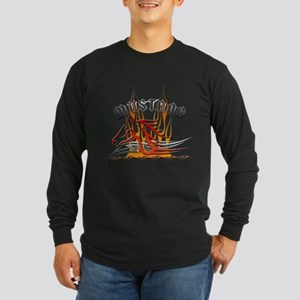 Mustang Tribal with Flames Long Sleeve Dark T-Shir