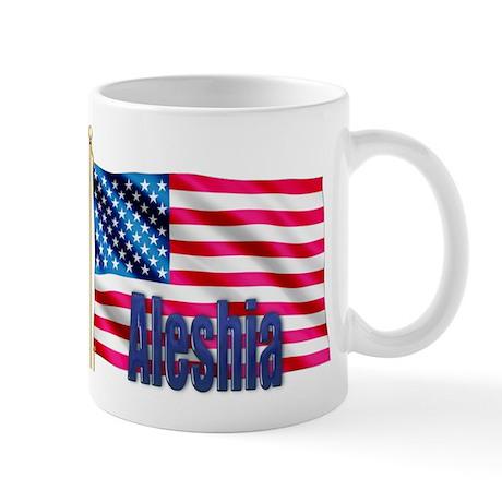 Aleshia Personalized USA Flag Mug