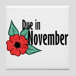 Due In November Poppy Tile Coaster