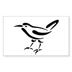 Stylized Wren Rectangle Decal