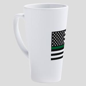Thin Blue Line Decal - USA Flag - 17 oz Latte Mug