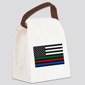 Thin Blue Line Decal - USA Flag - Canvas Lunch Bag
