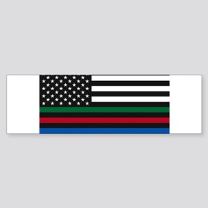 Thin Blue Line Decal - USA Flag - R Bumper Sticker