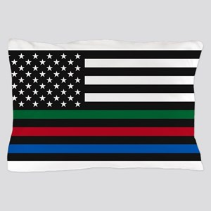 Thin Blue Line Decal - USA Flag - Red, Pillow Case