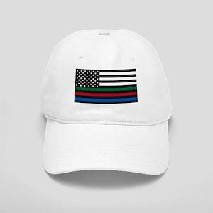 Thin Blue Line Decal - USA Flag - Red, Blue an Cap