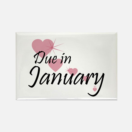 Due January Cascading Hearts Rectangle Magnet