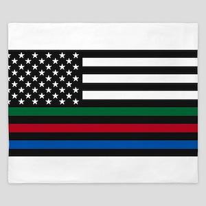Thin Blue Line Decal - USA Flag - Red, King Duvet