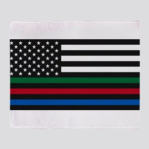Thin Blue Line Decal - USA Flag - Re Throw Blanket