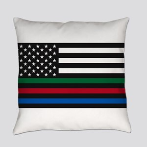 Thin Blue Line Decal - USA Flag - Everyday Pillow