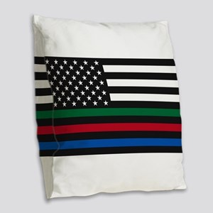 Thin Blue Line Decal - USA Fla Burlap Throw Pillow