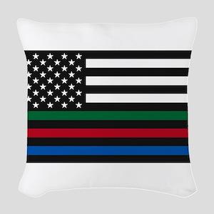 Thin Blue Line Decal - USA Fla Woven Throw Pillow