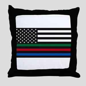 Thin Blue Line Decal - USA Flag - Red Throw Pillow