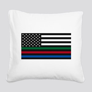 Thin Blue Line Decal - USA Fl Square Canvas Pillow