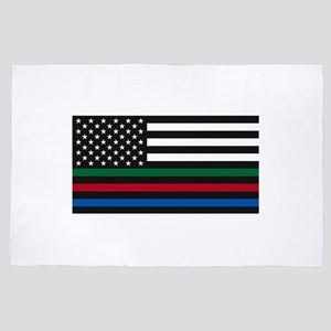 Thin Blue Line Decal - USA Flag - Red, 4' x 6' Rug