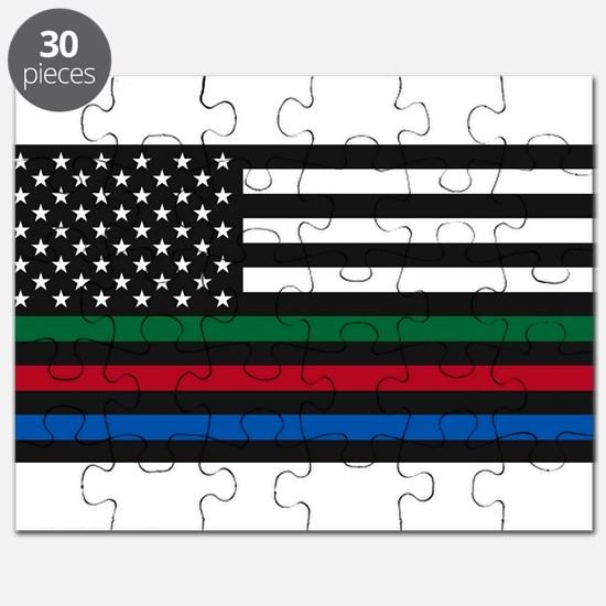 Thin Blue Line Decal - USA Flag - Red, Blue Puzzle