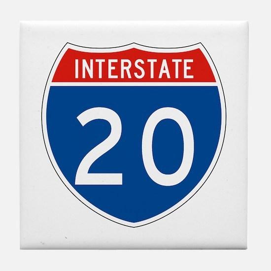Interstate 20, USA Tile Coaster
