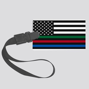 Thin Blue Line Decal - USA Flag Large Luggage Tag