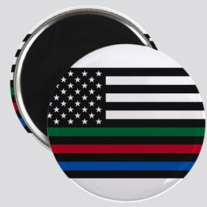 Thin Blue Line Decal - USA Flag - Red, Blu Magnets