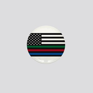 Thin Blue Line Decal - USA Flag - Red, Mini Button