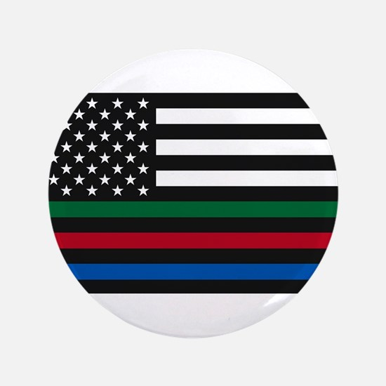 """Thin Blue Line Decal - USA Flag - Red, 3.5"""" Button"""