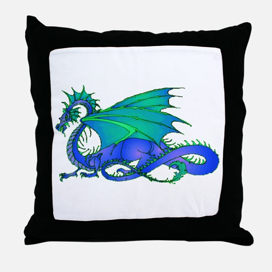 Bummed and Blue Dragon Throw Pillow