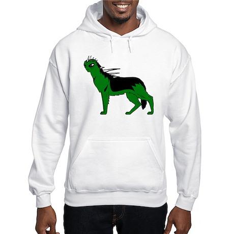 Green Dog-like Chupacabra Hooded Sweatshirt
