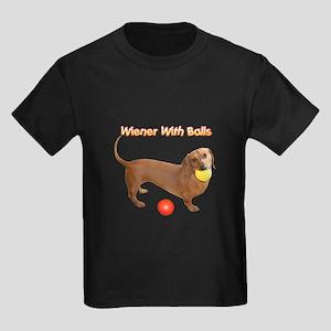 Wiener with Balls Kids Dark T-Shirt