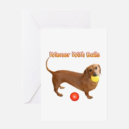 Wiener with Balls Greeting Card
