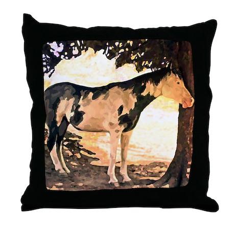 Horse Pinto Chiaroscuro Throw Pillow