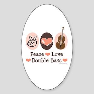 Peace Love Double Bass Oval Sticker