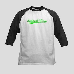 Vintage Federal Way (Green) Kids Baseball Jersey