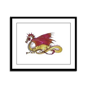 Fierce and Gold Dragon Framed Panel Print