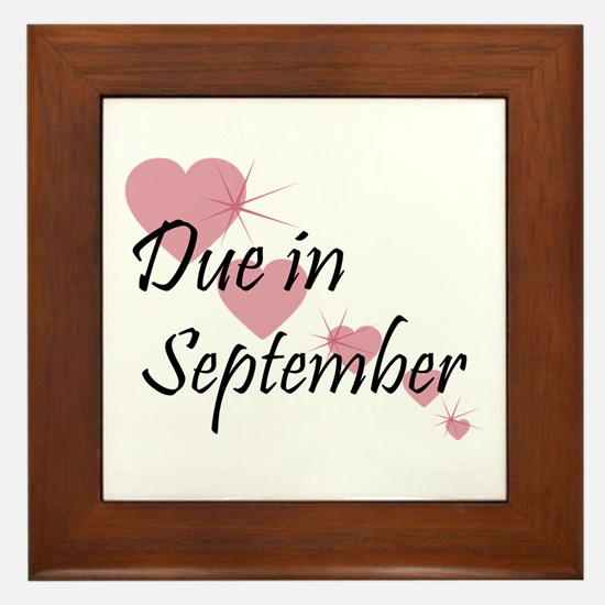 Due In September Cascading Hearts Framed Tile