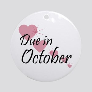 Due In October Cascading Hearts Ornament (Round)