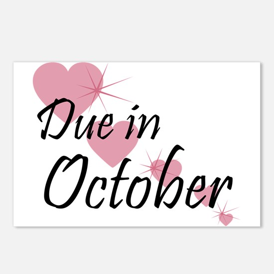 Due In October Cascading Hearts Postcards (Package