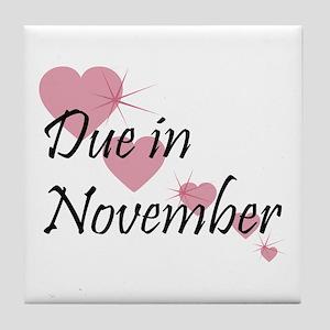 Due In November Cascading Hearts Tile Coaster
