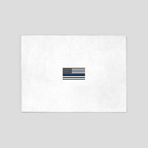 Thin Blue Line Decal - USA Flag - R 5'x7'Area Rug